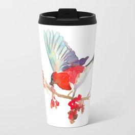 Bullfinch bird with ashberry Travel Mug