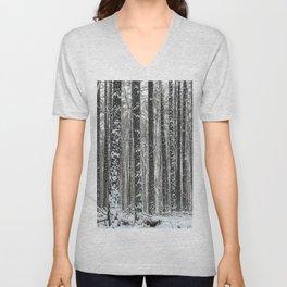 White trees-winter forest Unisex V-Neck