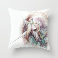 unicorn Throw Pillows featuring Unicorn by beart24