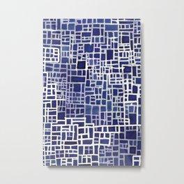 Blue Lines Pattern Metal Print