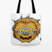 foo fighters Tote Bags featuring Foo Manchew by Laz Llanes