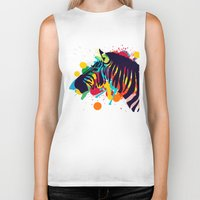 zebra Biker Tanks featuring ZEBRA by mark ashkenazi