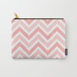 Geometrical mauve coral white modern chevron pattern Carry-All Pouch