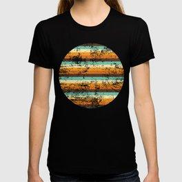 Retro Coloured Distressed Stripey Pattern Design T-shirt