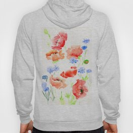 Orange Poppies with Blue Cornflowers Hoody