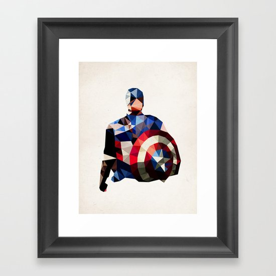Polygon Heroes - Captain America Framed Art Print