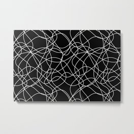 Abstract Scribbled (doodle) Line Art Odd Shape Pattern Black and White Metal Print