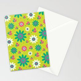 Retro Fall 60's Sunflower Floral in Lime Green Stationery Cards