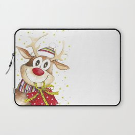 Funny Christmas Deer Red Nose Stars Laptop Sleeve