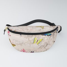 Butterflies - Vintage Chinese Art Print Fanny Pack