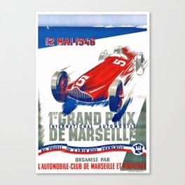 1946 Marseille Grand Prix Racing Poster Canvas Print