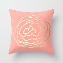 Flower in White Gold Sands on Salmon Pink Throw Pillow