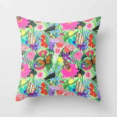 Butterfly and Moths Pattern - Green Throw Pillow