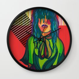 Color Blind - Bright Colorful Surreal Portrait of Woman, Painting Wall Clock