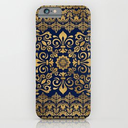 Oriental Damask Ornament - Gold on dark blue #1 iPhone Case