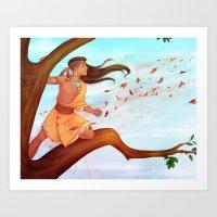 pocahontas Art Prints featuring Pocahontas by ribkaDory