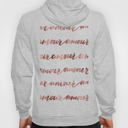 Amour French Love Script Rose Gold Typography Pattern Hoody
