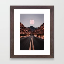 Road Red Moon Framed Art Print