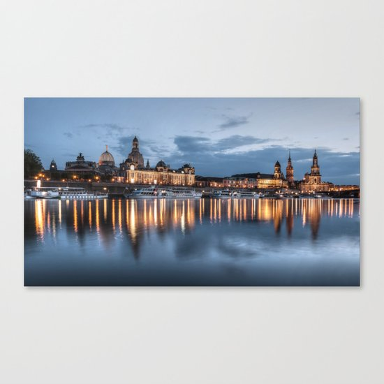 Dresden skyline, City, Germany, Cityscape blue hour Canvas Print