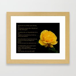 Yellow Rose Greeting With Verse - Pluck Not the Rose Framed Art Print