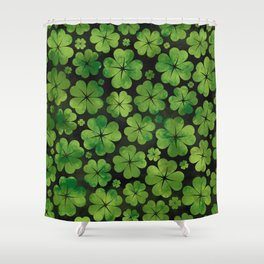 Lucky Shamrock Four-leaf Clover Pattern Watercolor Shower Curtain
