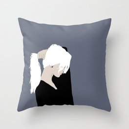 White Hair Beauty Throw Pillow