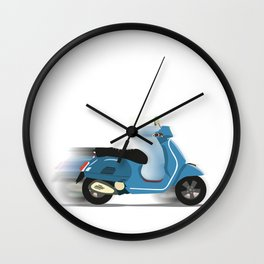 Retro Blue Scooter Wall Clock