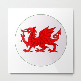 Welsh Dragon Button Metal Print