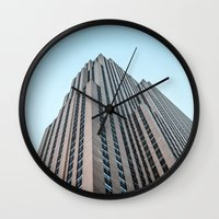 30 rock Wall Clocks featuring The Rock by MikeMartelli