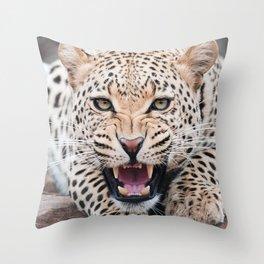 Leopard Snarling Throw Pillow