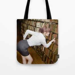 """Research"" - The Playful Pinup - Sexy Librarian Pin-up Girl by Maxwell H. Johnson Tote Bag"