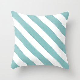 Chalky Blue Diagonal Stripes Throw Pillow
