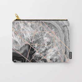 black and white agate with rose gold geometry pattern Carry-All Pouch