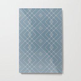 Elegant Scandinavian Geometry Blue Metal Print