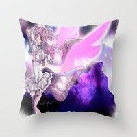 madoka Throw Pillows featuring Goddess Madoka by DeadlySpade