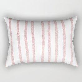 Simply Drawn Vertical Stripes in Rose Gold Sunset Rectangular Pillow