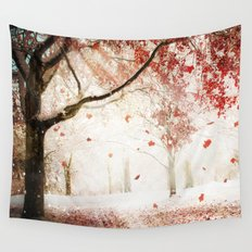 Scarlet and Snow Wall Tapestry