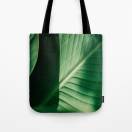 Close Up Of Green Tropical Textured Leaf Tote Bag