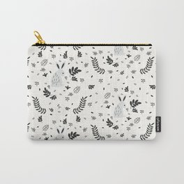 Hand painted cute black white rabbit watercolor floral Carry-All Pouch
