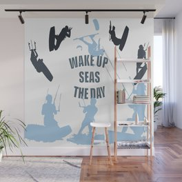 Wake Up Seas The Day Kiteboarder In Teal Shades Wall Mural