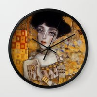 klimt Wall Clocks featuring klimt by Antonio Lorente