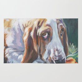 Beautiful Basset Hound dog portrait art an original painting by L.A.Shepard Rug