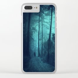 Light in a cyan forest Clear iPhone Case