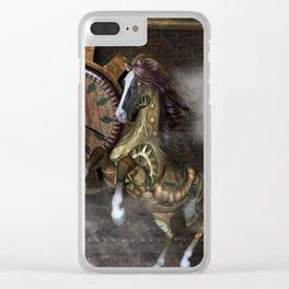 Steampunk, beautiful steampunk horse Clear iPhone Case