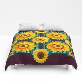 MODERN SOUTHWESTERN STYLE TURQUOISE SUNFLOWERS Comforters