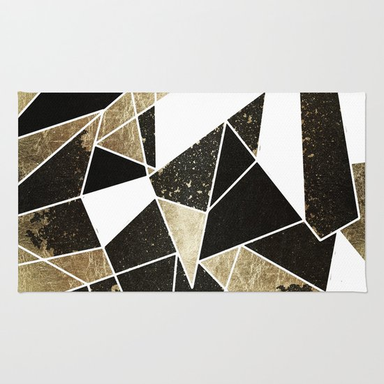 Modern Rustic Black White And Faux Gold Geometric Rug By
