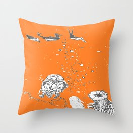 Two Tailed Duck and Jellyfish Orange Throw Pillow