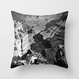 At Grand Canyon national park, USA with snow in black and white Throw Pillow