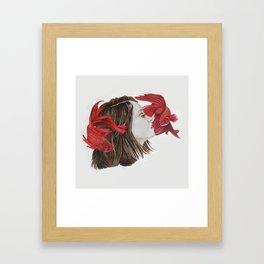 Fish and Girl Framed Art Print