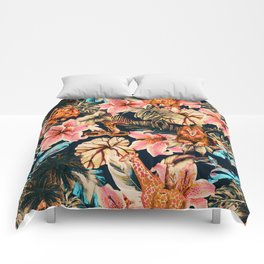 Wild animals in the dark of the jungle 2 Comforters